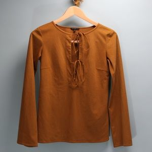 Theory Faux Suede Boho Bell Sleeve Tunic